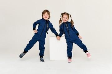 Комбинезон однотонный синий джинс