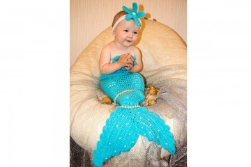 Вязаный голубой костюм русалки для младенца